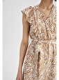 DeFacto Zebra Desenli Relax Fit Volan Detaylı Elbise Kahve